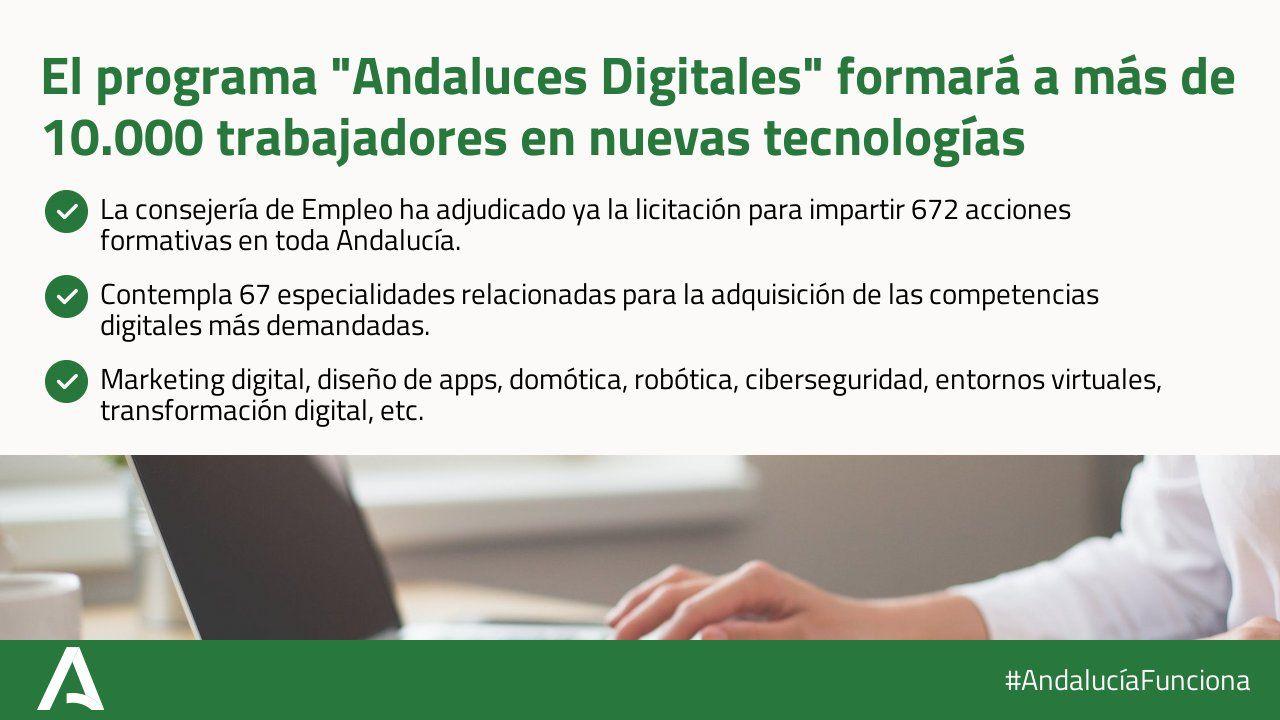 Andaluces Digitales pone en marcha  672 acciones formativas relacionadas con las nuevas tecnologías